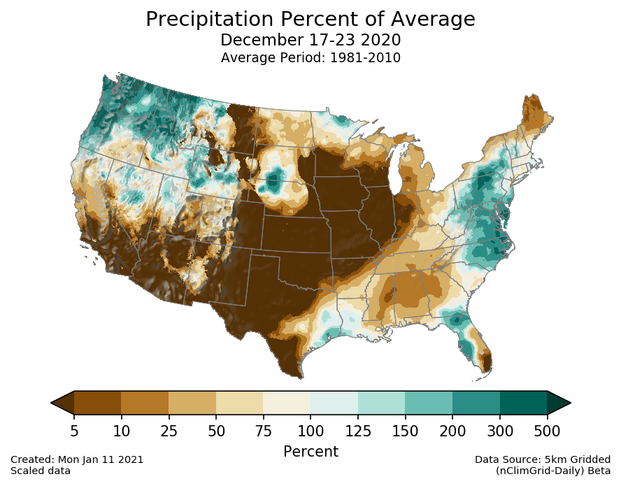 Precipitation anomalies (percent of normal) for the CONUS for December 17-23 2020