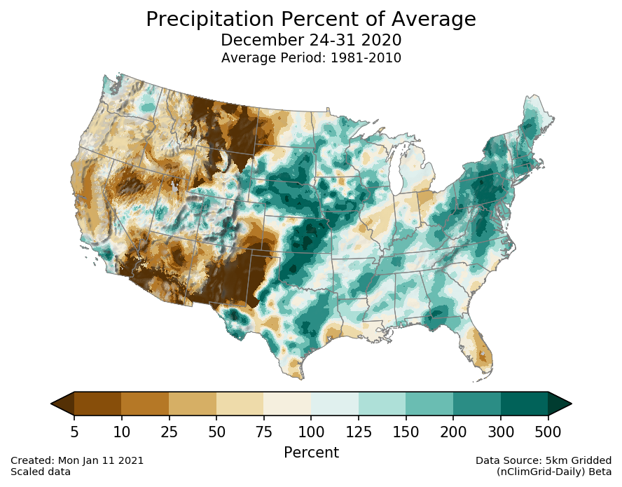 Precipitation anomalies (percent of normal) for the CONUS for December 24-31 2020