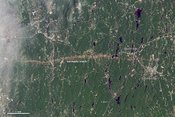 Satellite Image of Massachusetts Tornado Damage