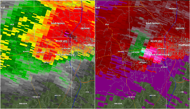 Radar Imagery of Hattiesburg, MS tornado 10 February