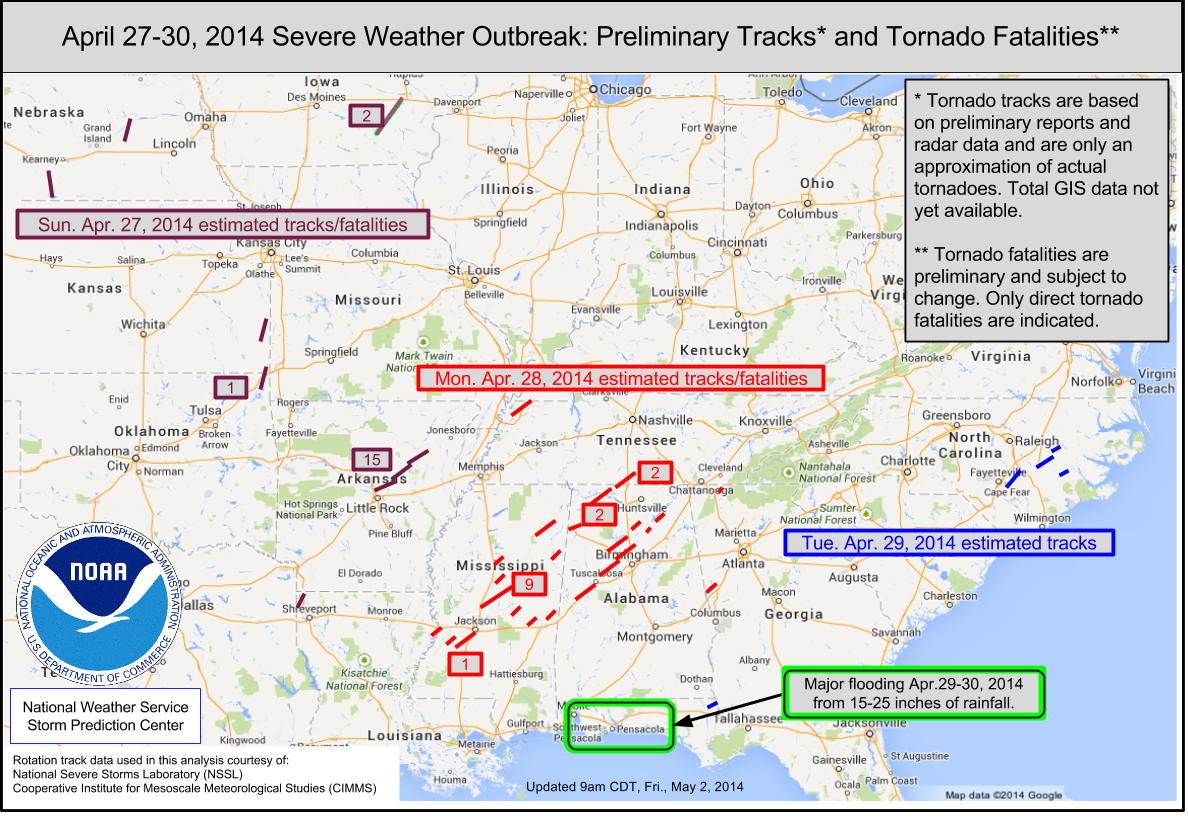 Tornadoes Annual State Of The Climate National Centers - Average us tornado map national weather service