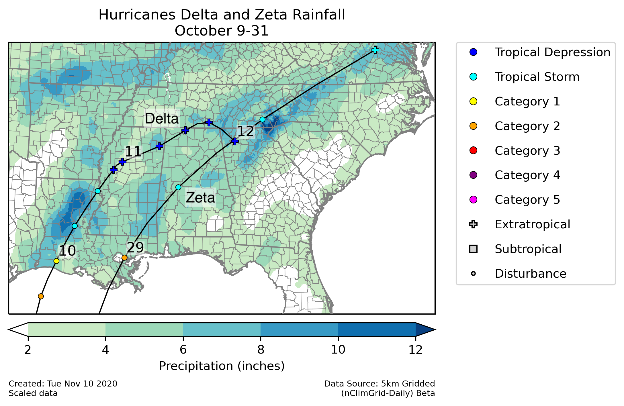 nClimGrid-Daily from Hurricanes Delta and Zeta October 9-31, 2020