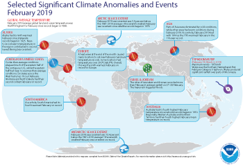 February 2019 Selected Climate Anomalies and Events Map