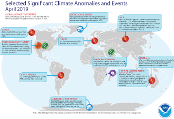 April 2019 Selected Climate Anomalies and Events Map