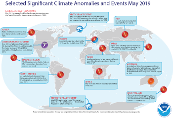 May 2019 Selected Climate Anomalies and Events Map