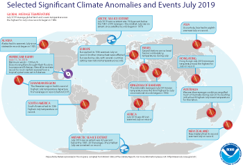 July 2019 Selected Climate Anomalies and Events Map