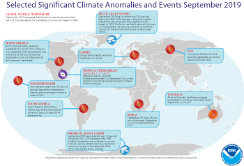 September 2019 Selected Climate Anomalies and Events Map