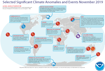 November 2019 Selected Climate Anomalies and Events Map