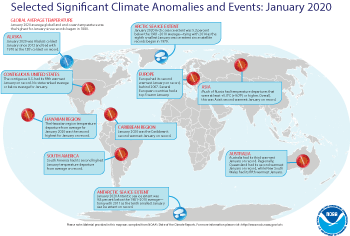 January 2020 Selected Climate Anomalies and Events Map