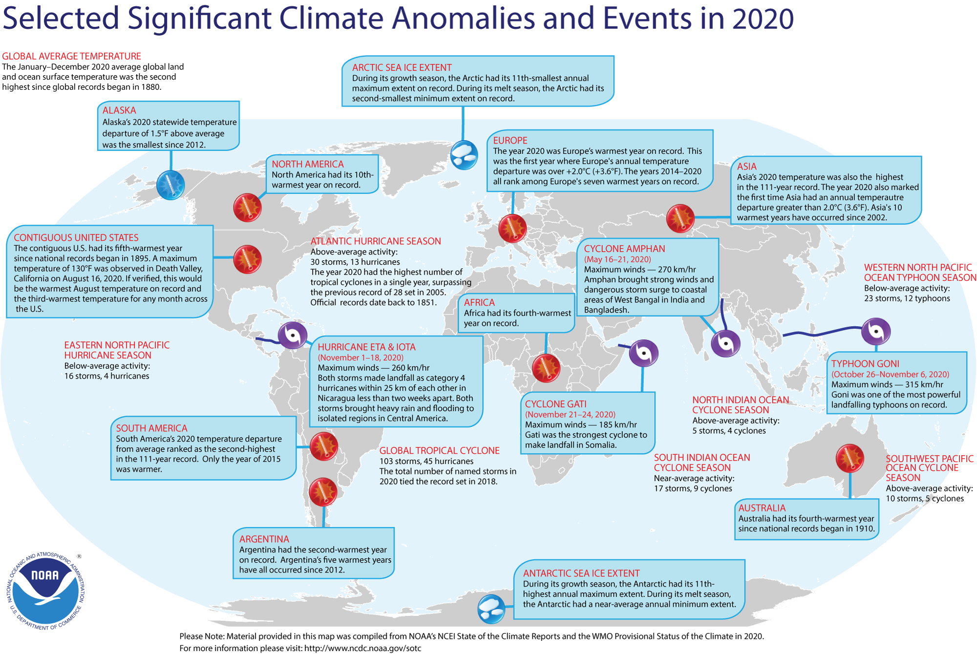 Image of world map with significant climate events from 2020 noted