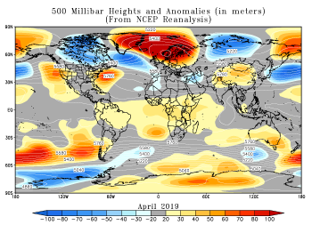 April 2019 height and anomaly map