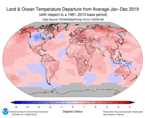 January–December Blended Land and Sea Surface Temperature Anomalies in degrees Celsius