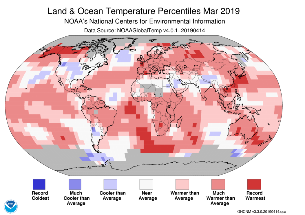 Global Climate Report - March 2019 | State of the Climate | National ...