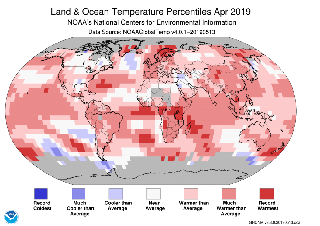 Global Climate Report - April 2019 | State of the Climate