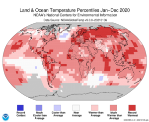 January–December Blended Land and Sea Surface Temperature Percentiles