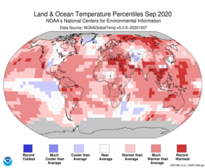 September Blended Land and Sea Surface Temperature Percentiles