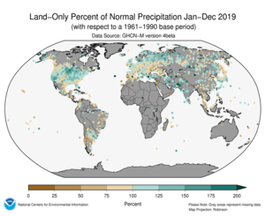 January-December 2019 Land-Only Precipitation Percent of Normal
