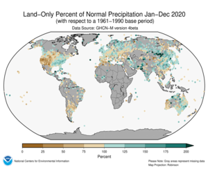 January-December 2020 Land-Only Precipitation Percent of Normal
