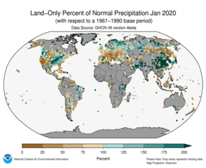 January 2020 Land-Only Precipitation Percent of Normal