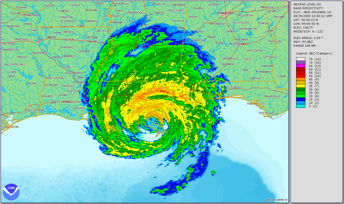 This image shows the full extent of hurricane katrina as the storm was